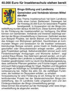40.000 Euro für Insektenschutz stehen bereit